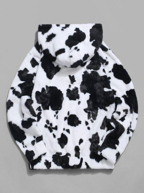 latest Cow Pattern Fluffy Half Zipper Hoodie - WHITE 2XL Mobile