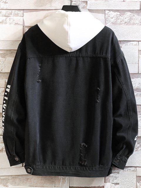 new Letter Print Distressed Drop Shoulder Jean Jacket - BLACK 2XL Mobile