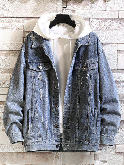 shop Letter Print Distressed Drop Shoulder Jean Jacket - SILK BLUE M Mobile