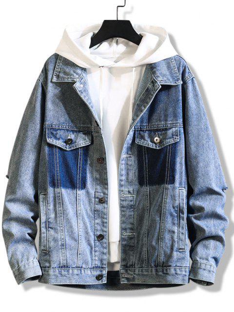 women Mock Dual Pockets Ripped Broken Hole Denim Jacket - SILK BLUE L Mobile