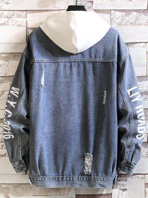 women's Letter Print Distressed Drop Shoulder Jean Jacket - SILK BLUE XL Mobile