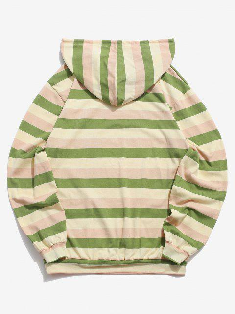 best Colorblock Stripes Knitted Hoodie - LIGHT GREEN L Mobile