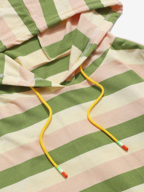 sale Colorblock Stripes Knitted Hoodie - LIGHT GREEN M Mobile