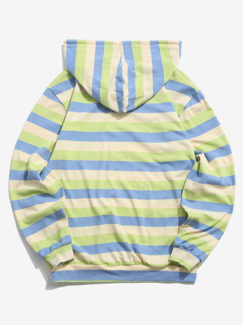 outfits Colorblock Stripes Knitted Hoodie - BLUE M Mobile