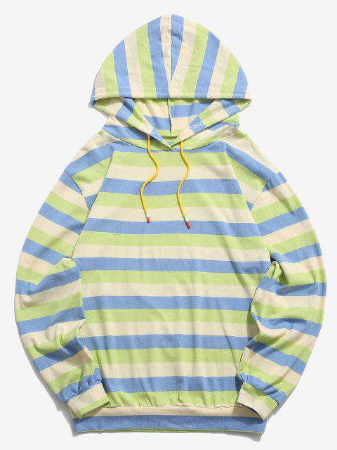 women Colorblock Stripes Knitted Hoodie - BLUE L Mobile