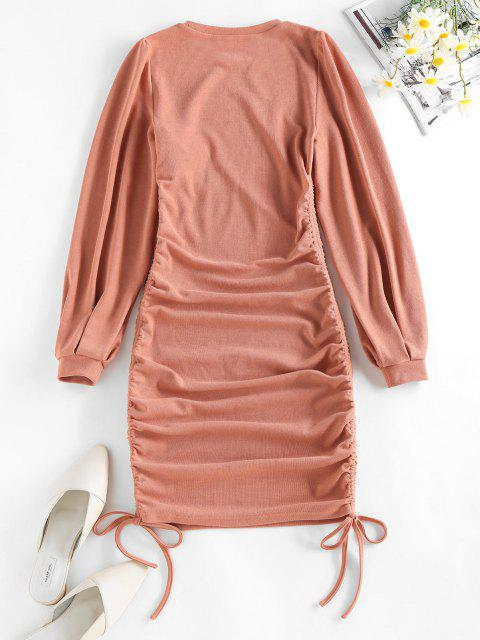 fancy ZAFUL Cinched Side Ribbed Mini Bodycon Dress - DEEP PEACH M Mobile