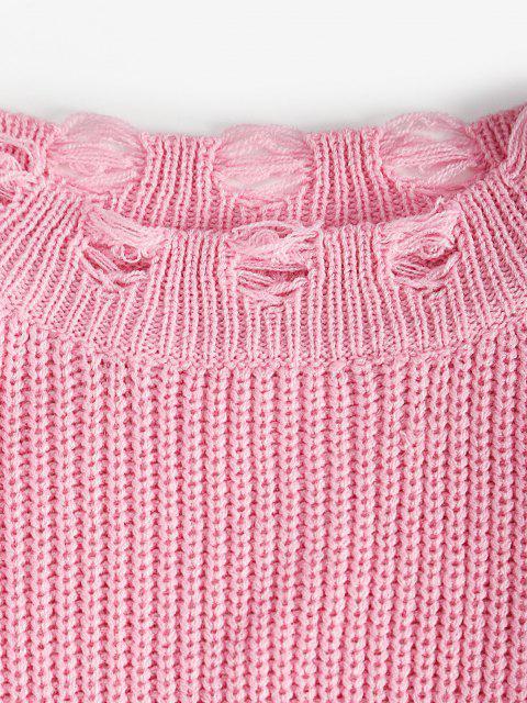 Vestito in Maglia Strappato a Due Pezzi con Collo Rotondo - Rosa Chiaro Taglia unica Mobile