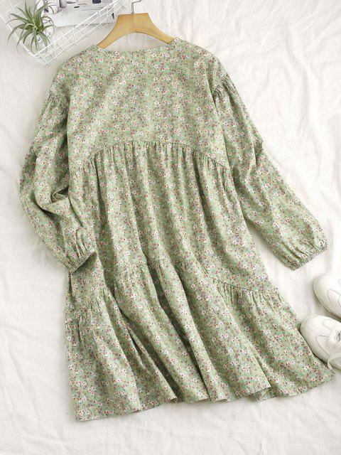 lady Ditsy Floral Long Sleeve Straight Tunic Dress - LIGHT GREEN L Mobile