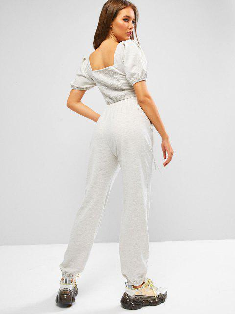 new ZAFUL Puff Sleeve Space Dye Smocked Two Piece Sweatpants Set - PLATINUM L Mobile