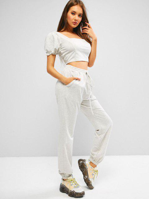 trendy ZAFUL Puff Sleeve Space Dye Smocked Two Piece Sweatpants Set - PLATINUM M Mobile