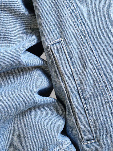 new Letter Text Dual Pockets Drop Shoulder Denim Jacket - SILK BLUE 3XL Mobile