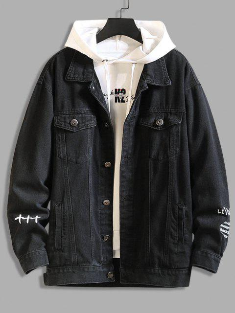 shops Letter Text Dual Pockets Drop Shoulder Denim Jacket - BLACK 2XL Mobile