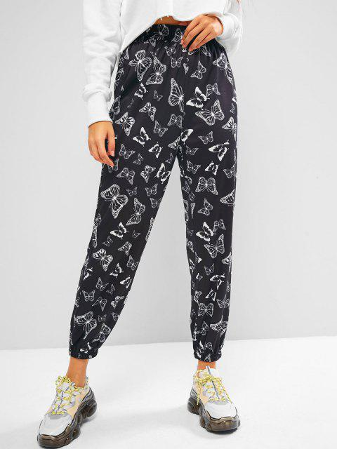 affordable ZAFUL High Rise Butterfly Print Jogger Pants - BLACK M Mobile