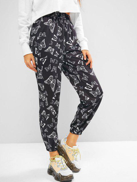 unique ZAFUL High Rise Butterfly Print Jogger Pants - BLACK S Mobile