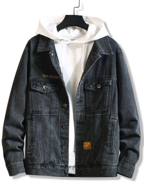 Veste Décontractée Lettre Brodée avec Double Poches en Jean - Noir 2XL Mobile