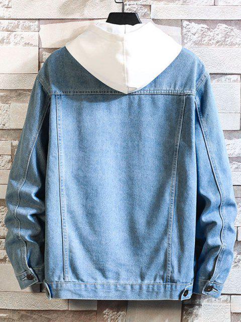 online Letter Emboridery Dual Pockets Casual Jean jacket - SILK BLUE 2XL Mobile