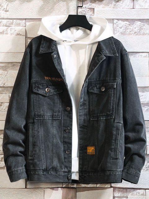 Veste Décontractée Lettre Brodée avec Double Poches en Jean - Noir 4XL Mobile