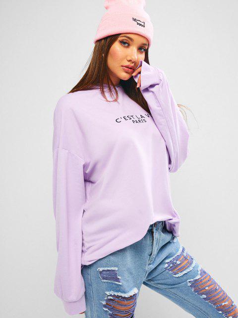 ZAFUL Embroidered Oversized Drop Shoulder Boyfriend Hoodie - خبازي S Mobile