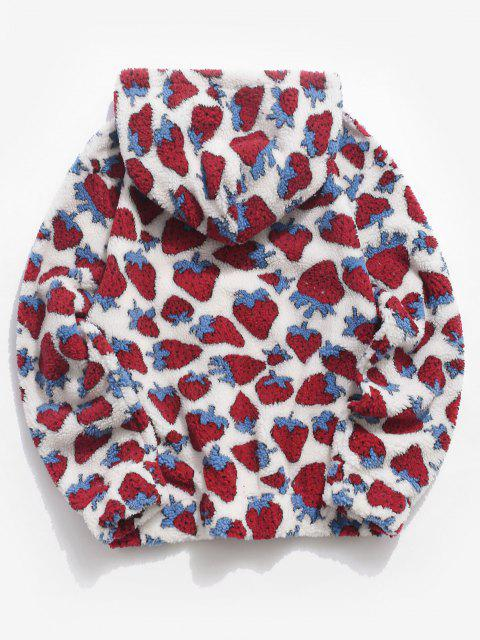 women's Strawberry Pattern Teddy Hoodie - WHITE XL Mobile
