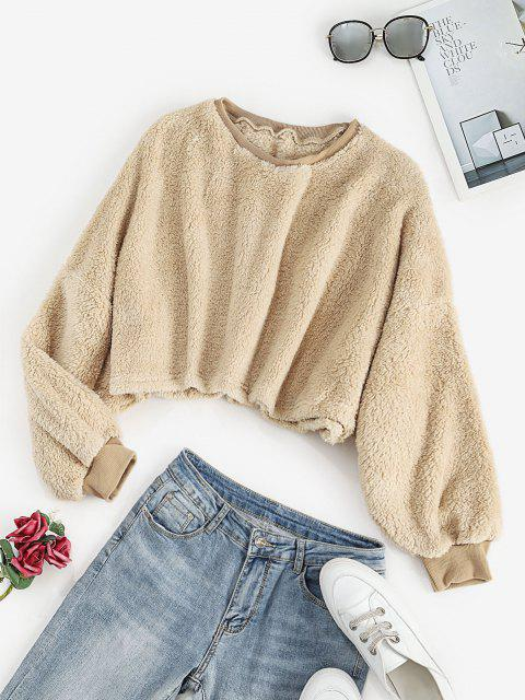 outfit Cropped Fluffy Oversized Sweatshirt - APRICOT L Mobile