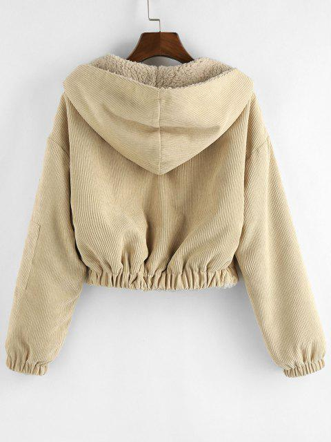 outfit ZAFUL Faux Fur Lined Hooded Corduroy Coat - TAN BROWN S Mobile