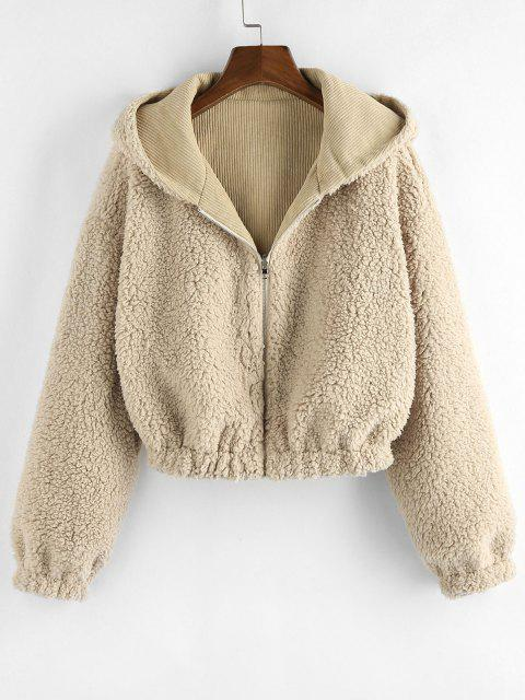 ZAFUL Faux Fur Lined Hooded Corduroy Coat - تان براون S Mobile