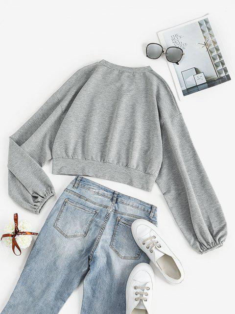 Lantern Sleeve CALIFORNIA Graphic Sweatshirt - رمادي فاتح L Mobile