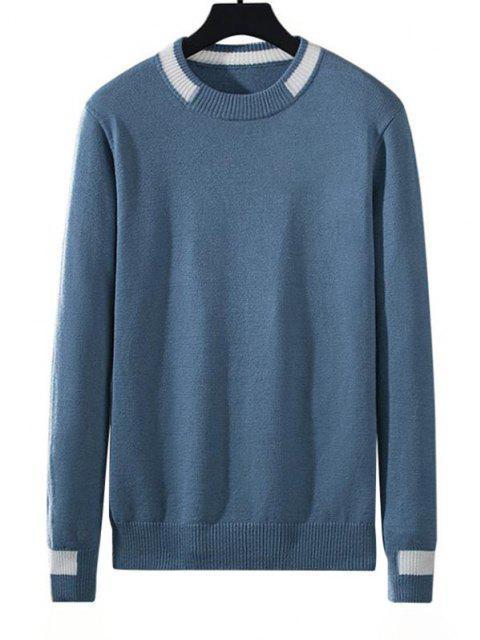 Jersey Tejido a Rayas con Color Bloque - Azul de Seda M Mobile