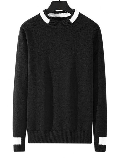 sale Colorblock Stripe Pullover Knit Sweater - BLACK M Mobile