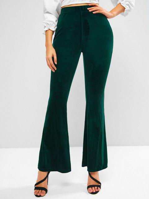 shop ZAFUL High Waisted Velvet Flared Pants - DEEP GREEN XL Mobile