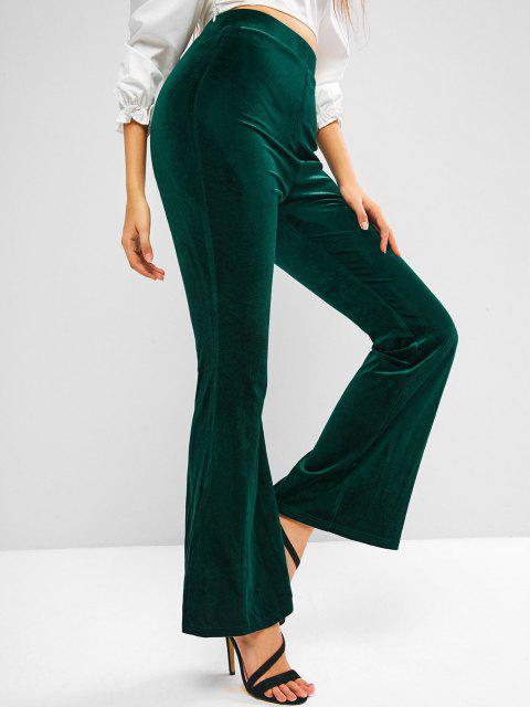 ladies ZAFUL High Waisted Velvet Flared Pants - DEEP GREEN L Mobile