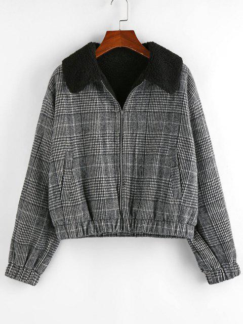ZAFUL Houndstooth Plaid Teddy Lined Drop Shoulder Jacket - أسود L Mobile
