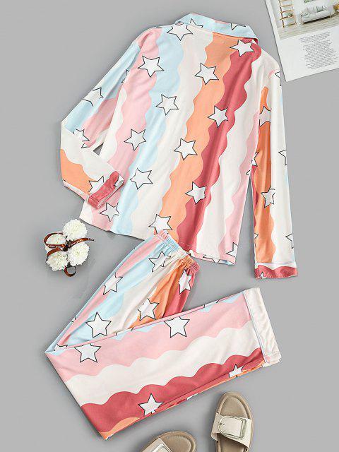 fashion Star Print Pocket Shirt Pajama Pants Set - ORANGE L Mobile