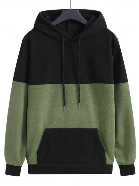 shop Colorblock Fleece Pullover Hoodie - BLACK M Mobile