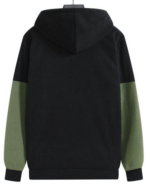 chic Colorblock Fleece Pullover Hoodie - BLACK XL Mobile