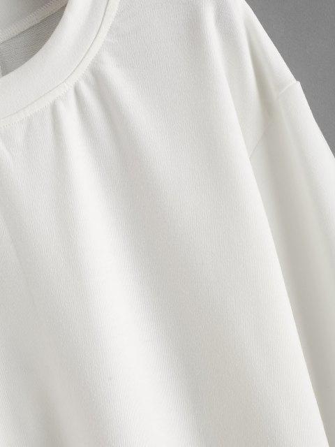 Sudadera con Cordón Combinado de Color Sólido - Blanco XL Mobile