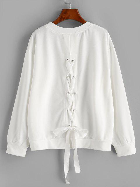 Solid Lace Up Back Sweatshirt - أبيض XL Mobile