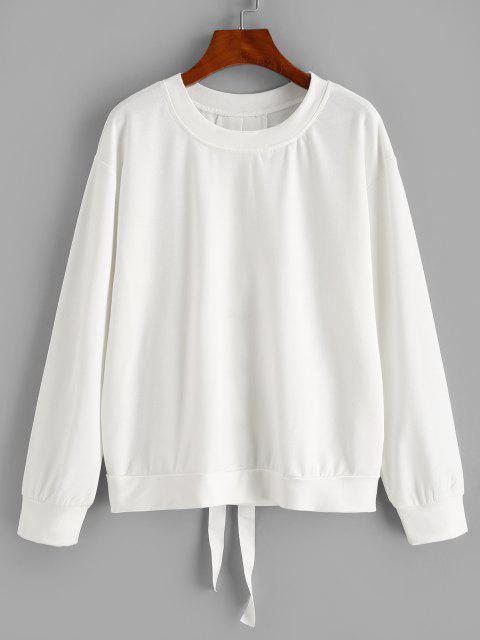 unique Solid Lace Up Back Sweatshirt - WHITE S Mobile