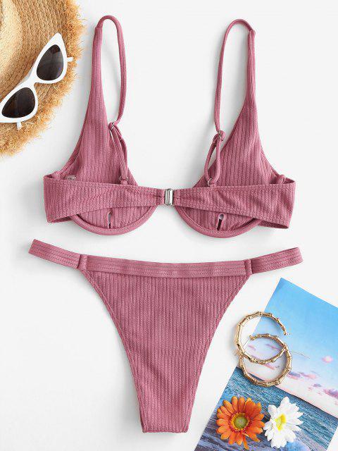 buy ZAFUL Ribbed Underwire Tanga Bikini Swimwear - LIGHT PINK M Mobile