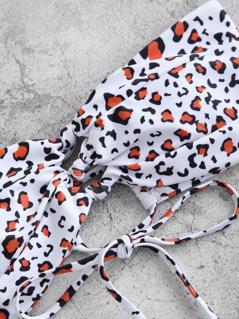 ZAFUL Maillot de Bain BikiniNouéBandeau Animal Imprimé à Coupe Haute - Rouille L Mobile