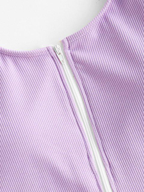 womens ZAFUL Half Zip Ribbed Sporty One-piece Swimsuit - LIGHT PURPLE L Mobile