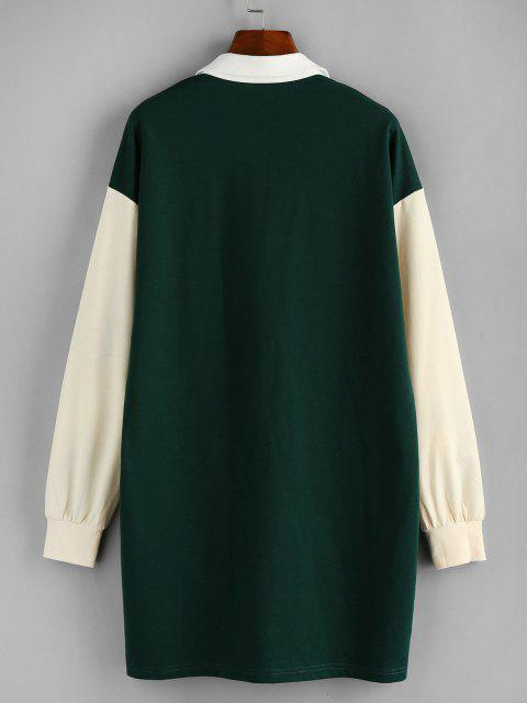 ladies ZAFUL Contrast Colorblock Drop Shoulder Knit Dress - DARK FOREST GREEN XL Mobile