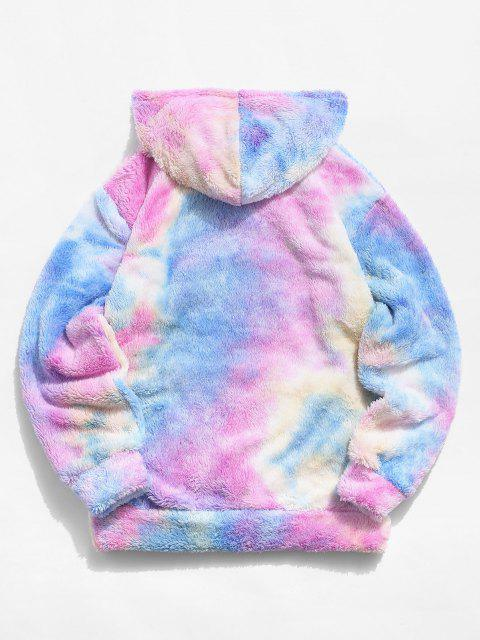 women's Tie Dye Letter Embroidery Fluffy Hoodie - LIGHT PINK XL Mobile