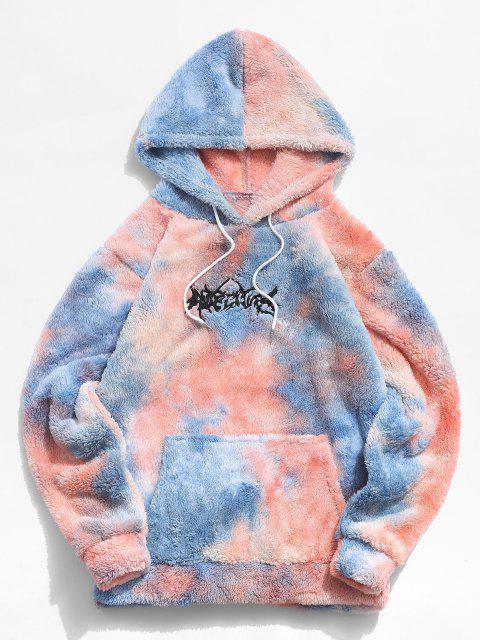 Sudadera con Capucha con Bordado de Letras y de Tie-dye - Azul M Mobile