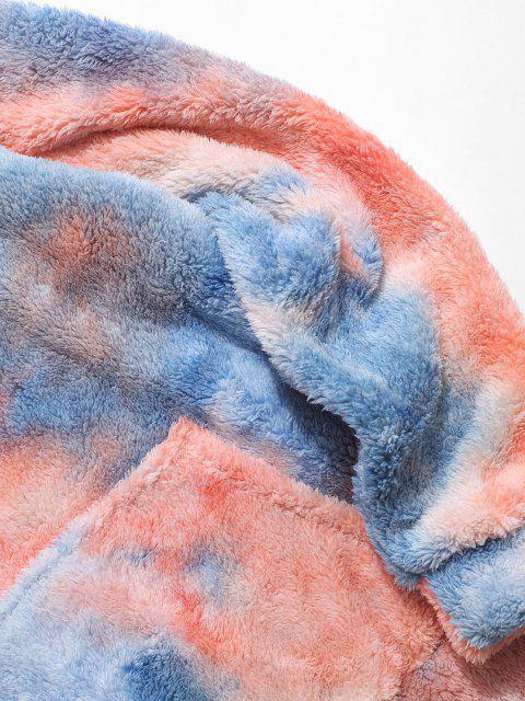 Krawattenfärbender Buchstabe Stickerei Flauschiges Hoodie - Blau S Mobile
