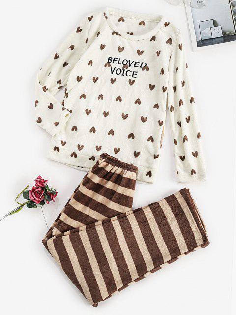 women Striped Hearts Pocket Plush Pajamas Pants Set - WHITE S Mobile