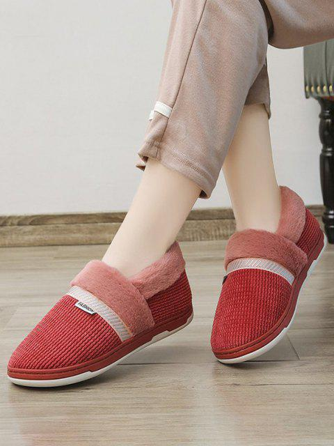 shops Winter Plush Slip On Flat Shoes - RED WINE EU 38 Mobile