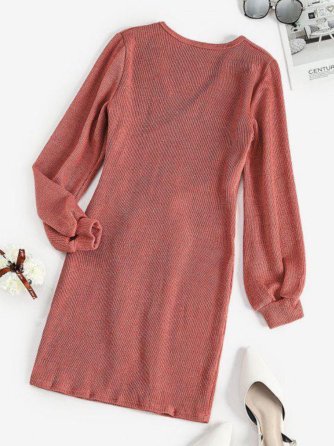 Robe Superposée Côtelée Taille Nouée à Manches Longues - Rose  S Mobile