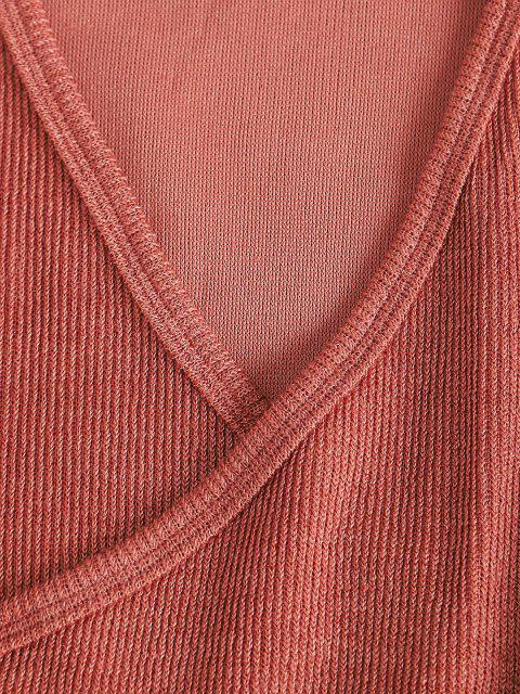 women's Long Sleeve Tie Waist Ribbed Surplice Dress - PINK XL Mobile