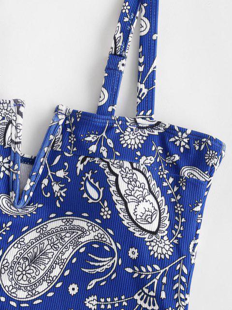 ZAFUL Maillot de Bain Vintage Côtelé Cachemire Imprimé à Armature en V Une-Pièce - Bleu profond XL Mobile